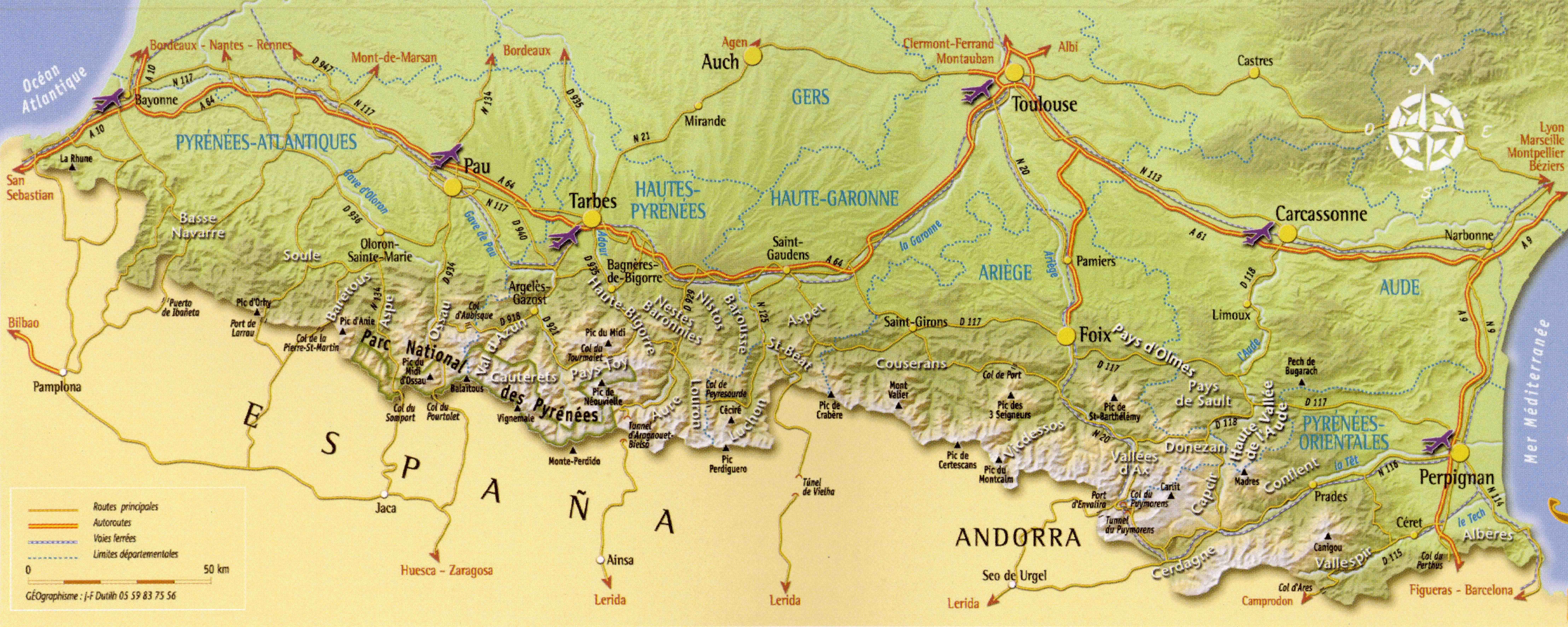 carte des les pyrenees
