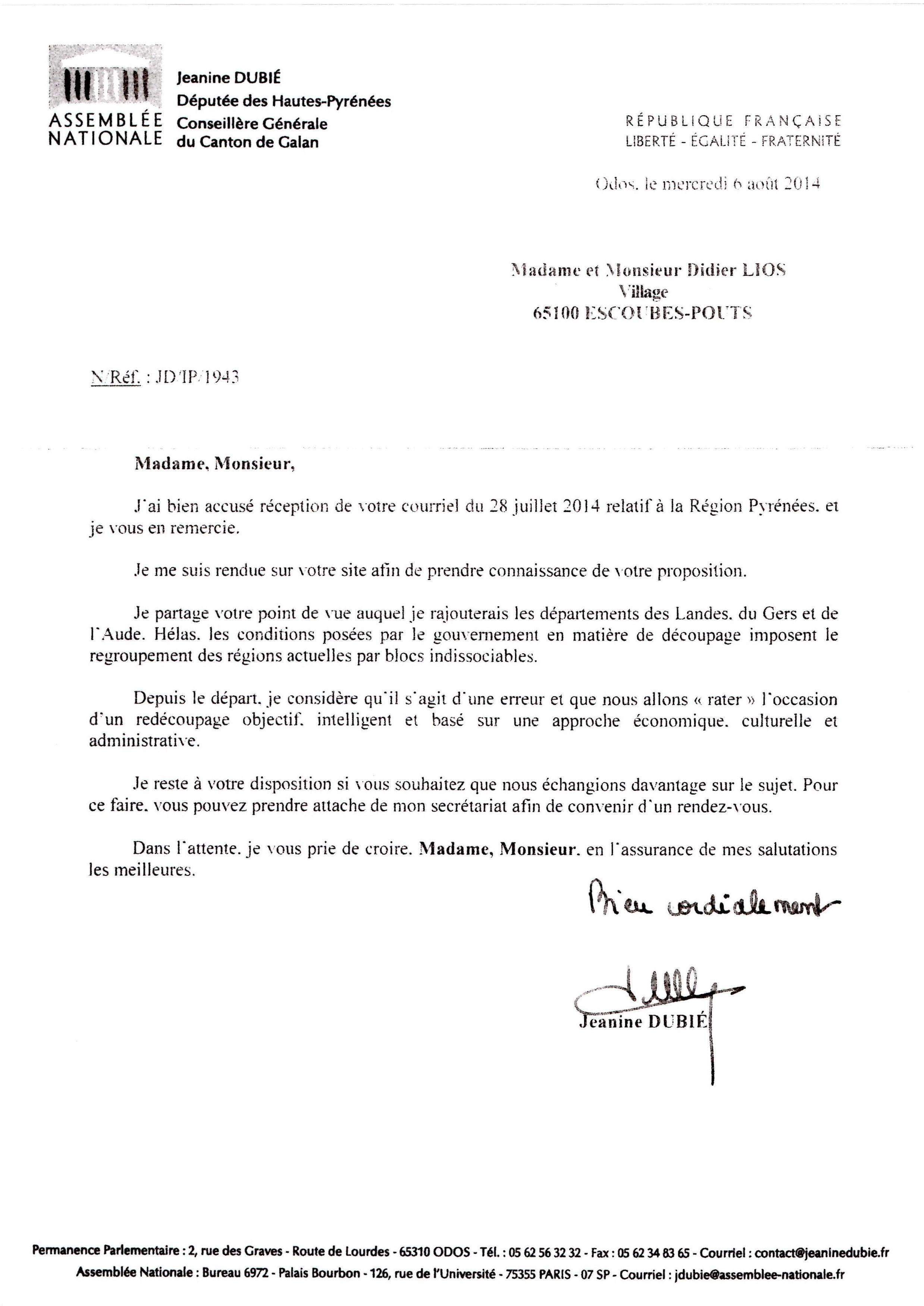 lettre députée